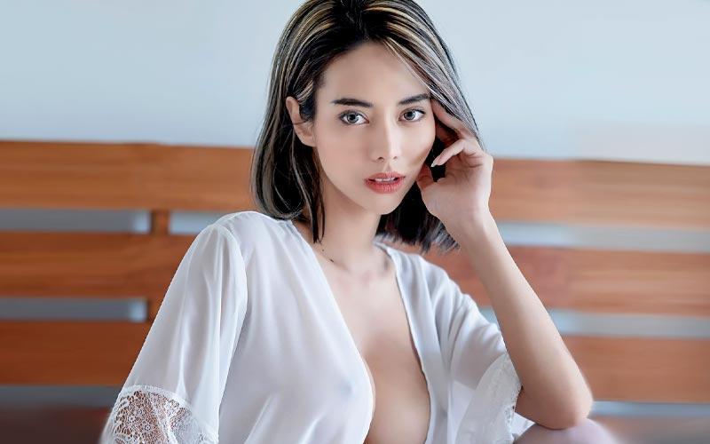 cute asian bride in shirt