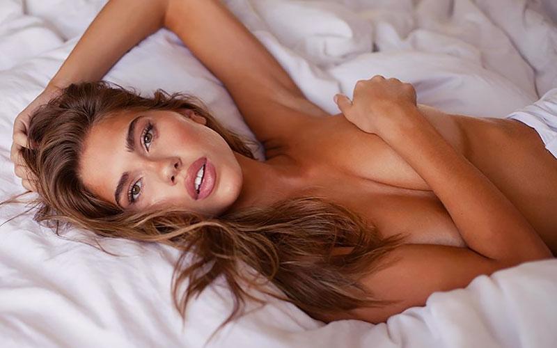 pretty brazilian bride in bed
